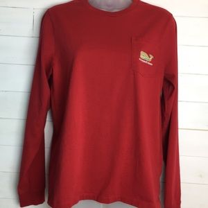 Vineyard Vines Red Long Sleeve Christmas Whale T